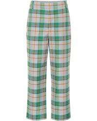 Tibi Hani Plaid Tailored Trousers - Green