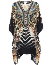 Camilla Printed Silk Lace-up Kaftan - Multicolor