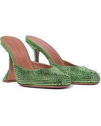 AMINA MUADDI Emili Embellished Suede Mules - Green