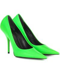Balenciaga Square Knife Point-toe Stiletto Leather Court Shoes - Green