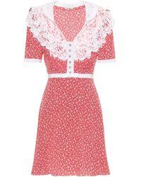 Miu Miu Vestido de seda floral con encaje - Rojo
