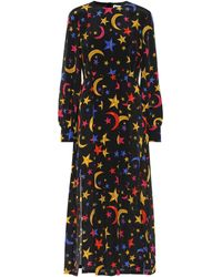 RIXO London Emma Printed Silk Midi Dress - Black