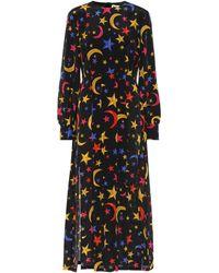RIXO London Robe midi Emma imprimée en soie - Noir