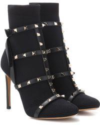 Valentino Garavani Ankle Boots Rockstud mit Leder - Schwarz