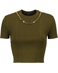 Givenchy Chain-trimmed Ribbed-knit Sweater - Green