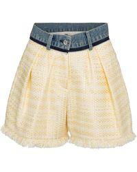 Sacai Short en tweed de coton mélangé - Multicolore