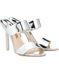 Sophia Webster Rosalind Embellished Leather Mules - Metallic