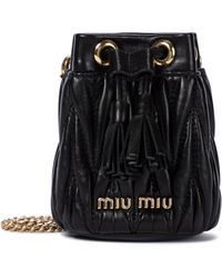 Miu Miu Bucket-Bag Mini aus Leder - Schwarz