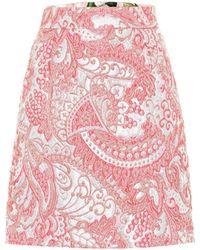 Dolce & Gabbana Metallic Jacquard Miniskirt - Pink