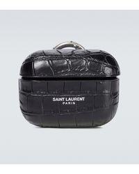Saint Laurent Etui pour AirPods en cuir - Noir