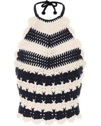 Gucci Striped Wool-crochet Halterneck Top - Blue