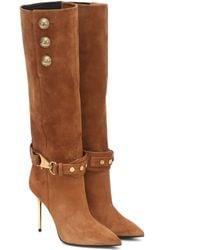 Balmain Suede Knee-high Boots - Natural