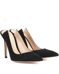 5b1fbb5f4778 Lyst - Gianvito Rossi Black Leather Square Flat Rectangular Heel ...