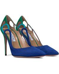 Aquazzura Escarpins Fenix 105 en daim - Bleu