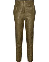 Veronica Beard Sethe High-rise Slim Leather Trousers - Green