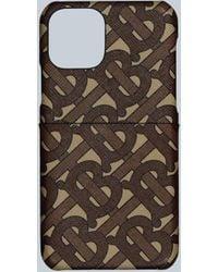 Burberry Monogram Print E-canvas Phone Case - Brown