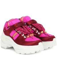 Maison Margiela Cutout Satin Trainers Bright Pink