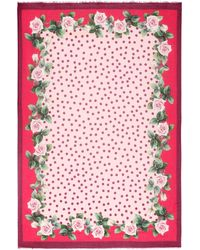 Dolce & Gabbana Floral And Dotted Scarf - Red
