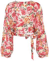 LPA | Top 135 Floral-printed Silk Cropped Blouse | Lyst