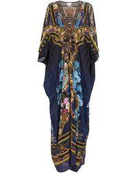 Camilla Caftán de seda con adornos - Azul