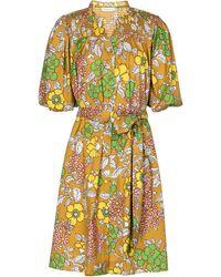 Tory Burch Vestido corto floral con cinturón - Amarillo