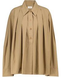 Lemaire Camisa de algodón plisada - Marrón