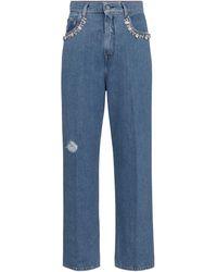 Golden Goose Verzierte High-Rise Straight Jeans Kim - Blau