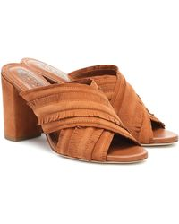 Tod's Fringed Suede Sandals - Brown