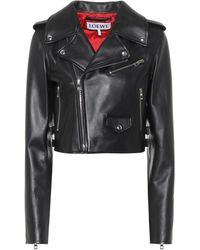 Loewe Cropped Leather Jacket - Black