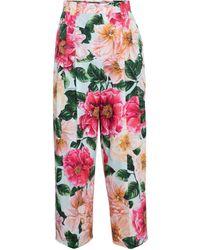 Dolce & Gabbana Pantalon raccourci à taille haute en coton à fleurs - Multicolore