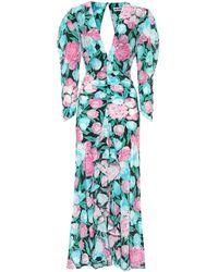 RIXO London Robe longue Paloma en soie à fleurs - Bleu
