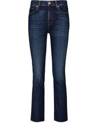 7 For All Mankind Jeans Straight Crop de tiro medio - Azul