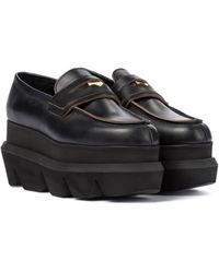 Sacai Platform Leather Loafers - Black