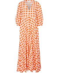 Victoria, Victoria Beckham Gingham Faille Maxi Dress - Orange