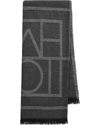 Totême Bufanda Logo de lana y cachemir - Gris