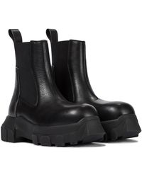 Rick Owens Beatle Bozo Leather Chelsea Boots - Black