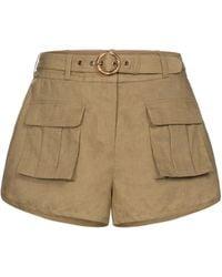Zimmermann Shorts Brighton Pocket de lino - Verde