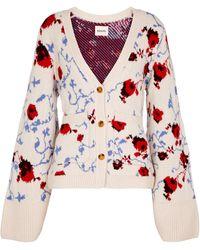 Khaite Cardigan Scarlet in cashmere stretch - Bianco