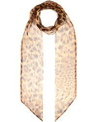 Saint Laurent - Leopard Silk Chiffon Scarf - Lyst
