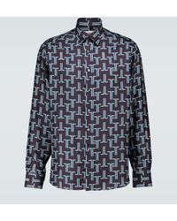 Lanvin Long-sleeved Printed Silk Shirt - Blue