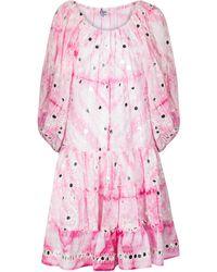 Juliet Dunn Off-shoulder Cotton Minidress - Pink