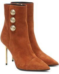 Balmain Ankle Boots Roni aus Veloursleder - Braun