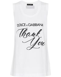 Dolce & Gabbana - Thank You Cotton Tank Top - Lyst