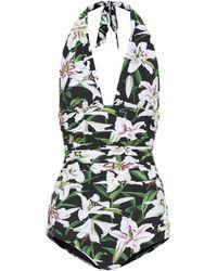 Dolce & Gabbana Floral Halter Swimsuit - Green