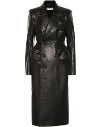 Balenciaga Hourglass Leather Coat - Black
