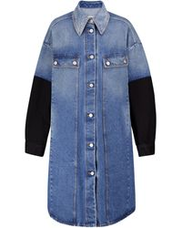 MM6 by Maison Martin Margiela Colorblocked Denim Jacket - Blue