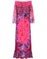 Camilla Vestido de seda estampado - Rosa