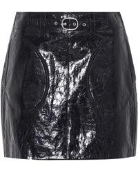 Rag & Bone Minifalda de piel con cinturón - Negro