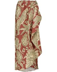 Johanna Ortiz Añoranzas Printed Linen Midi Skirt - Brown