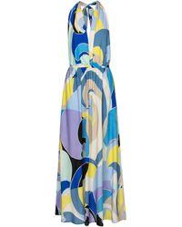Emilio Pucci Printed Halterneck Maxi Dress - Blue